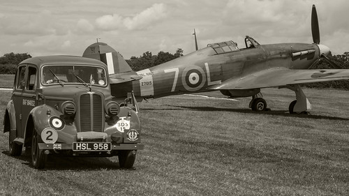 RAF Hillman Minx and Sea Hurricane  B-W
