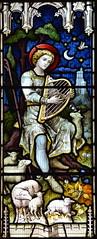 Daniel plays his harp to his flock (Hardman & Co? 1870s)
