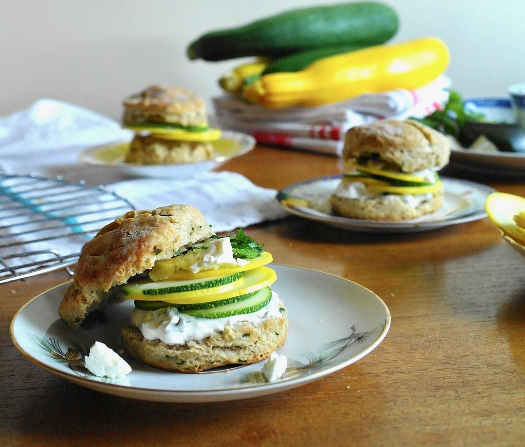 zucchini, mint & lemon on biscuits