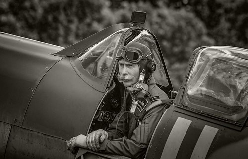 Spitfire cockpit and Pilot. B-W