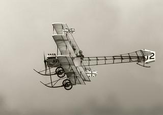 Avro Triplane, sun on B-W