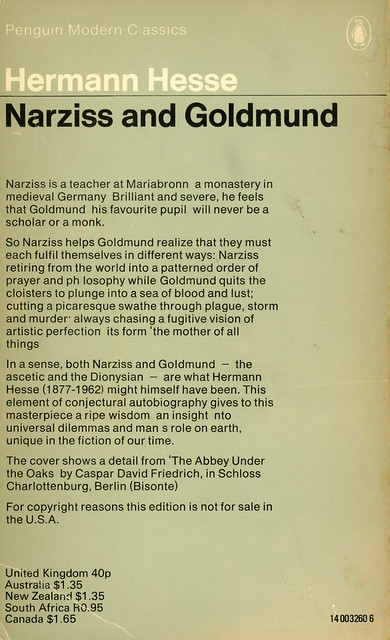 Penguin Books 3260 - Hermann Hesse - Narziss and Goldmund (back)