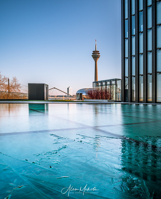 Frozen Water with Rheinturm in background