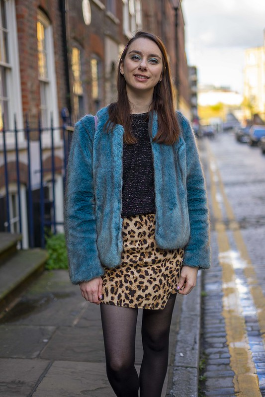 Blue fur and a leopard skirt 5