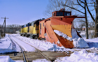 T&SBY plow and GP35's in Traverse City in February 2004