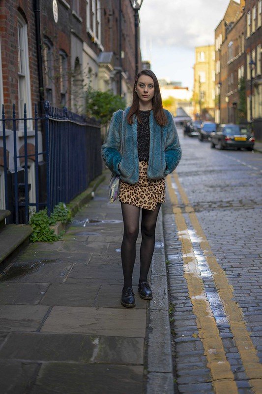 Blue fur and a leopard skirt