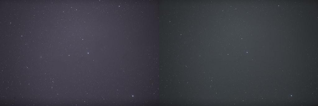 Baloldali fotón egy nyers képkocka látható az öt perces zselici exponálásból, míg jobboldalon a falusi ég világossága majdnem ugyan annyira fényes, de csak feleannyi záridővel.