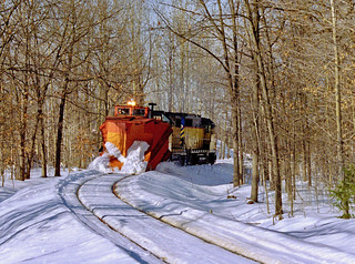 T&SBY plow train leaving Traverse City and heading south to Walton Junction in February 2004