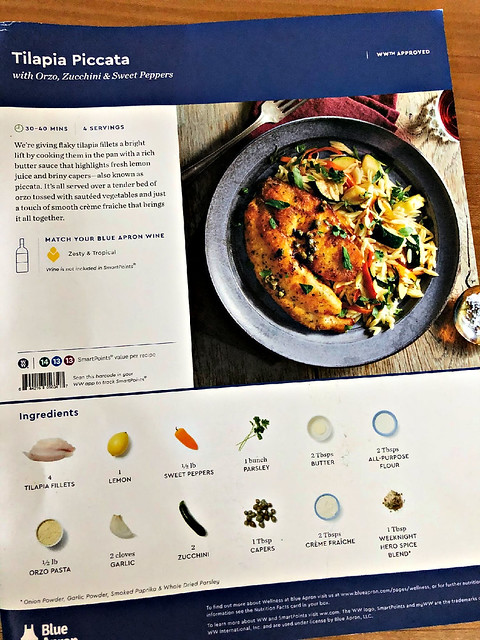 blue apron recipe card