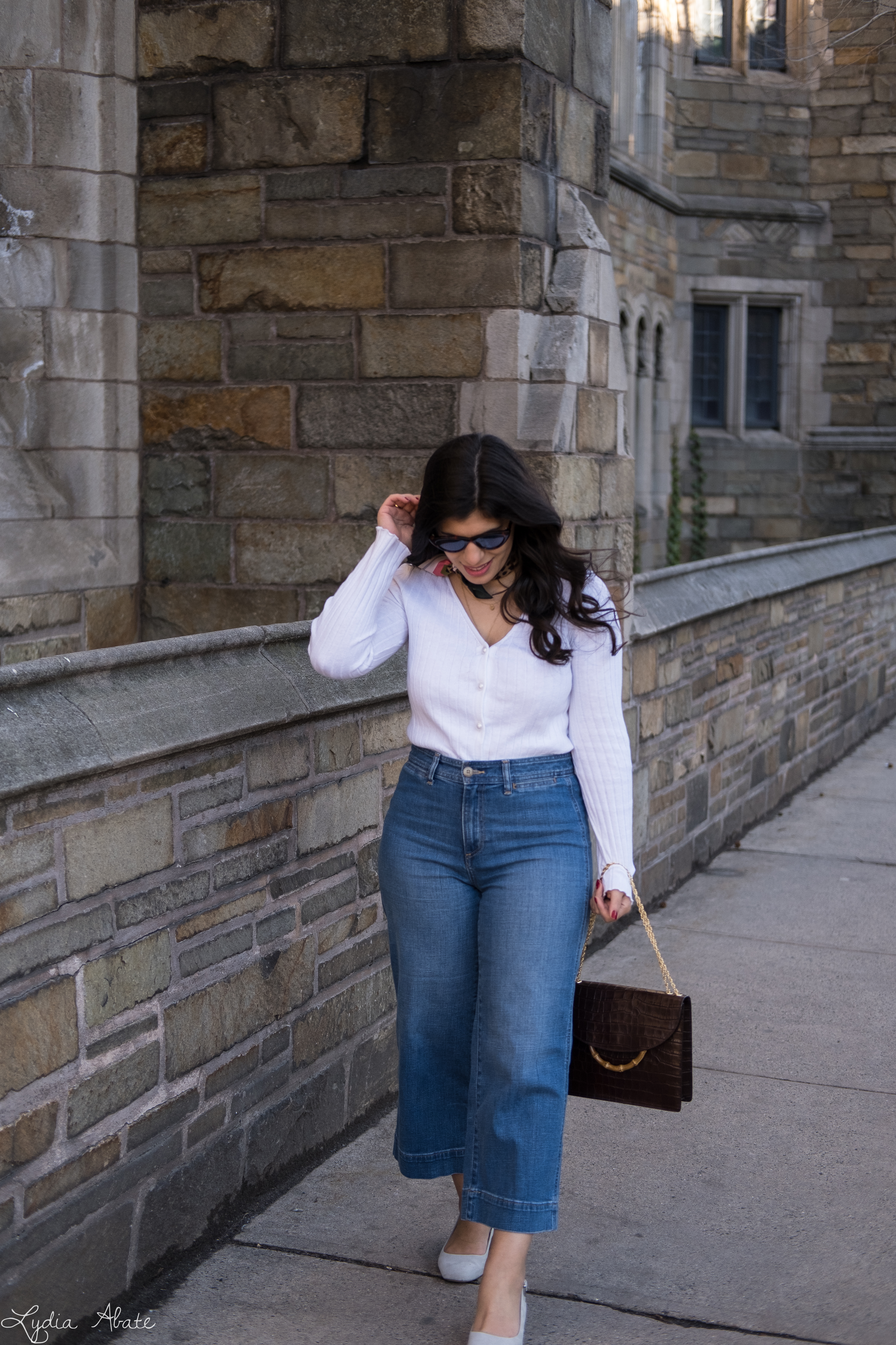 white pearl button cardigan, wide leg cropped jeans, leopard silk scarf, grey slingbacks-3.jpg