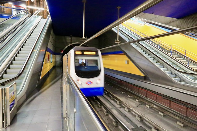 Madrid's Underground line 4 arriving at it's terminal Pinar de Chamartin