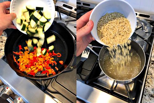 preparing the veggies and orzo