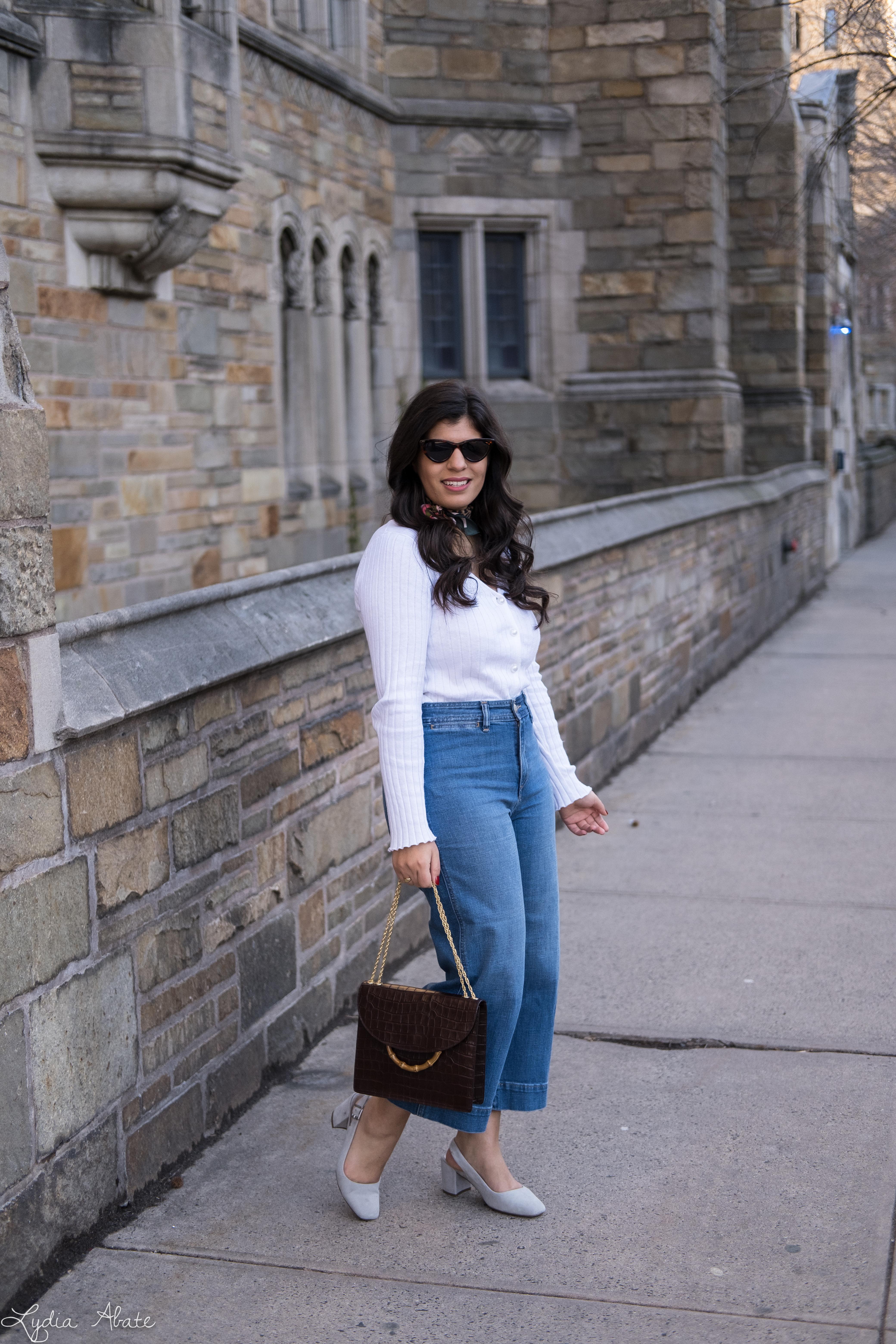 white pearl button cardigan, wide leg cropped jeans, leopard silk scarf, grey slingbacks-14.jpg