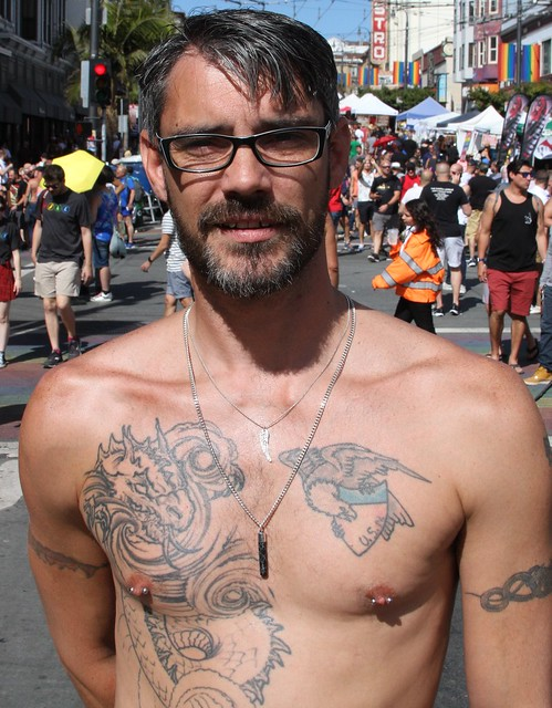 DAMN HOT TATTOOED MUSCLE STUD ! ~ CASTRO STREET FAIR 2019 ! ( safe photo )