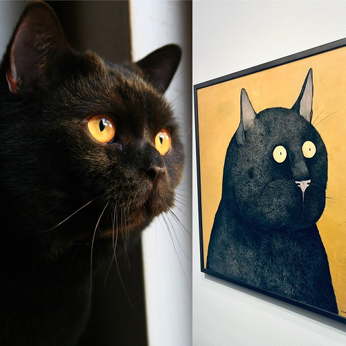 two black cat peas in a pod, waldemar vs sigge at liljevalchs spring art salon, stockholm, february 2020