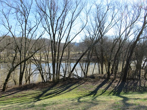 cumberlandriver thompsonpark floodwalls barbourville ky kentucky winter trees mountains
