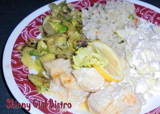 Photo: Lemon Cod dinner with Brussels sprouts