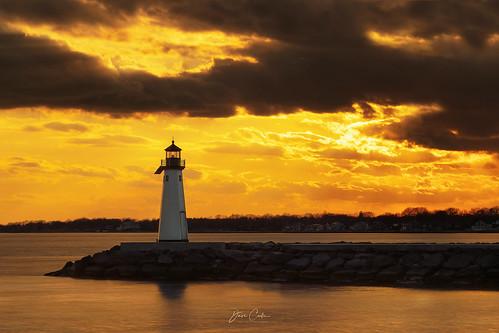 longisland lighthouse light goldenhour gold bay water sunset evening