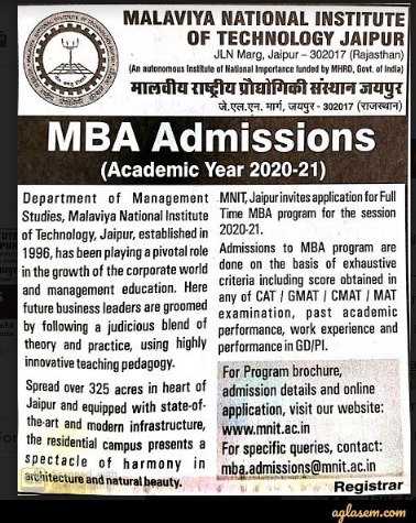 MNIT Jaipur MBA Admission 2020 - Selection List (Out), Dates, Process