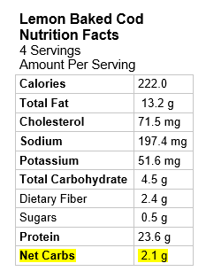 Graphic: Nutrition Information Baked Cod with Lemon