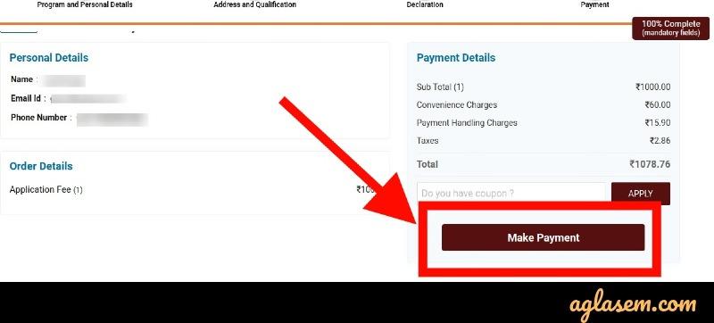 REVA CET application fee payment