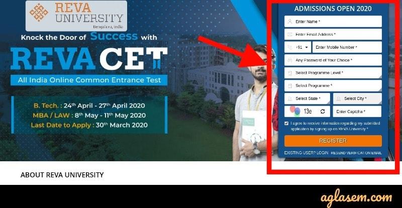 REVA CET 2020 registration