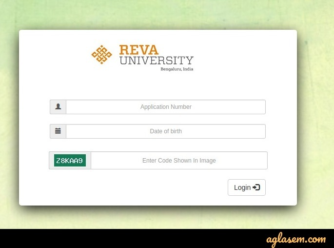 REVA CET 2020 admit card login