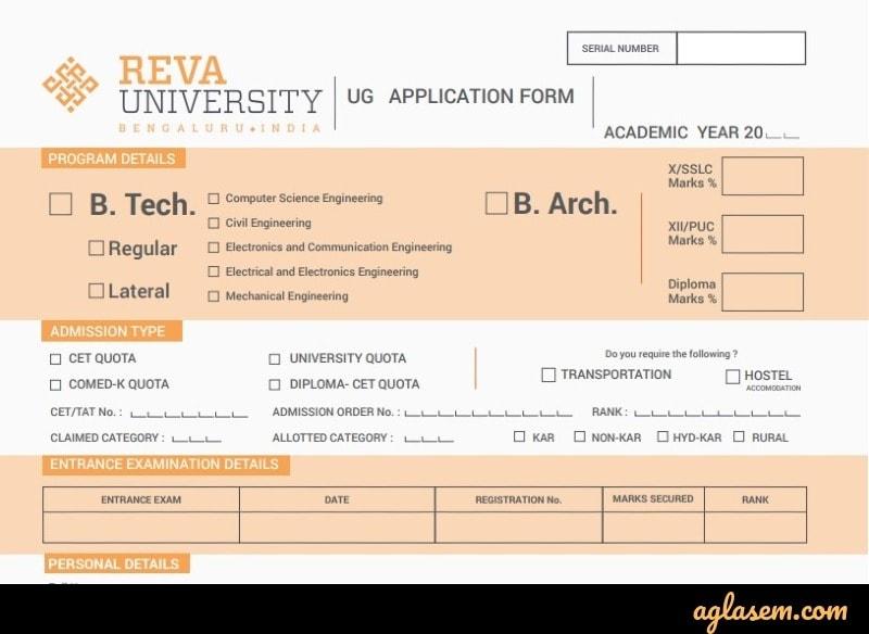 REVA CET 2020 online application form