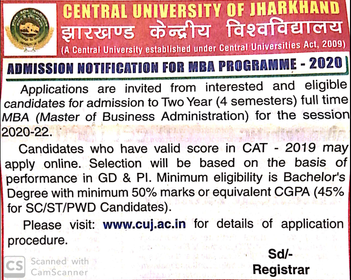 Central University of Jharkhand MBA Admission 2020