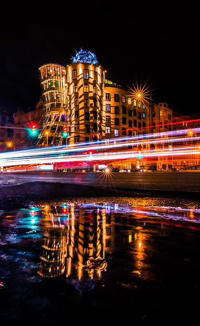 The Dancing House at night