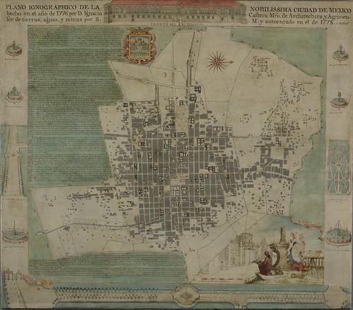 Ignacio Castera, cartographer; Anselmo López, artist, Plano ignográfico de la nobilissima ciudad de México (Ichnographic Plan of the Most Noble City of Mexico), 1778, oil on canvas, the Hispanic Society of America.