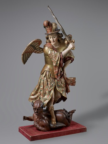 Anonymous Ecuadorian Sculptor, Saint Michael Archangel, c. 1700–1750, polychromed and gilded wood, the Hispanic Society of America. From Houston says Olé to new Spanish exhibition from Hispanic Society.