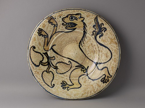 Manises, Plate, c. 1500–1515, tin-glazed earthenware with cobalt and luster, the Hispanic Society of America. From Houston says Olé to new Spanish exhibition from Hispanic Society.