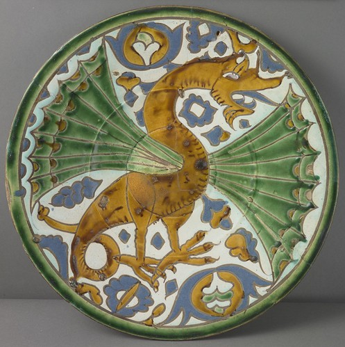 Seville, Plate, c. 1500, earthenware with cuerda seca decoration, the Hispanic Society of America. From Houston says Olé to new Spanish exhibition from Hispanic Society.
