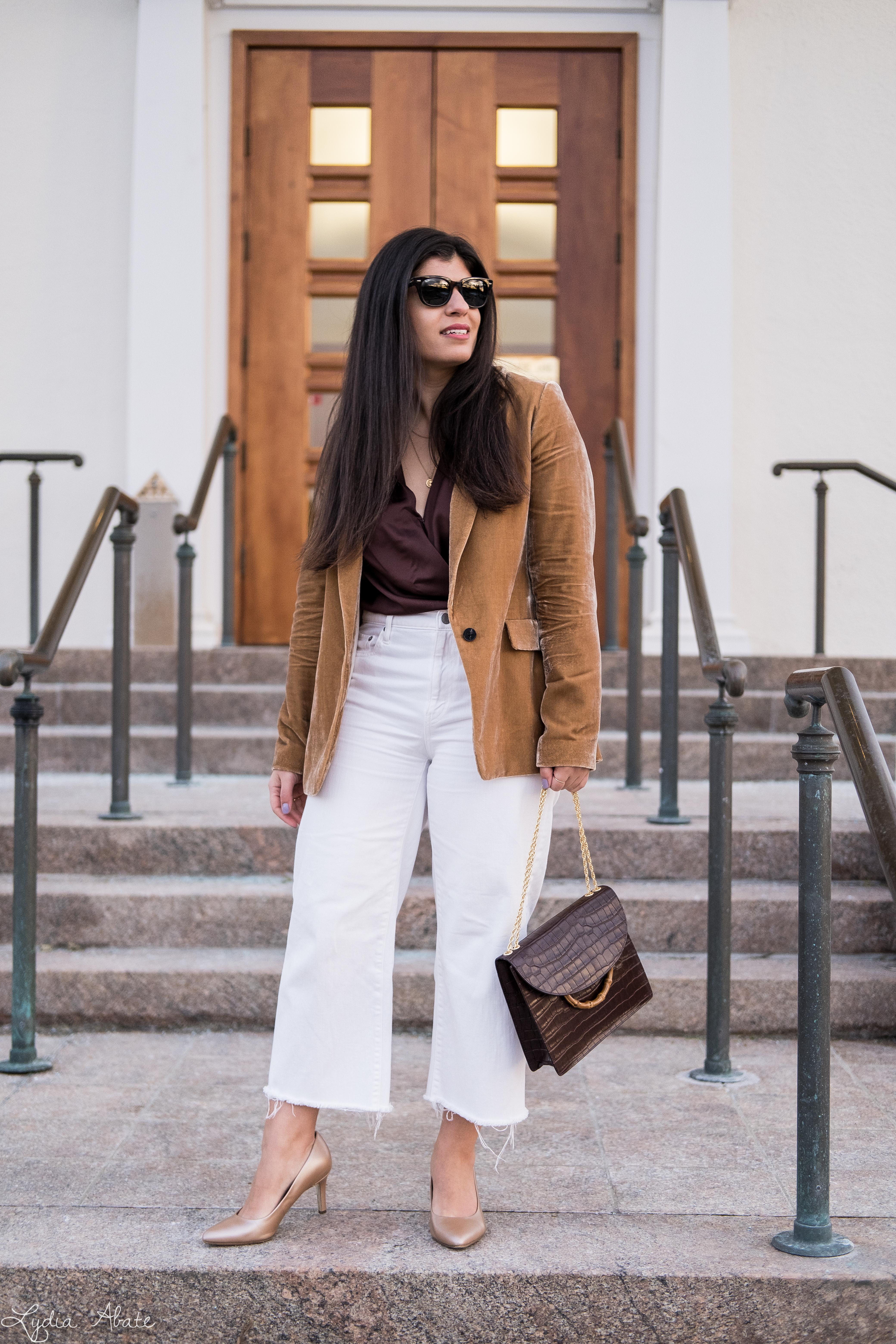 camel velvet blazer, brown satin bodysuit, wide leg cropped white denim-4.jpg