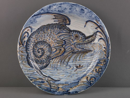 Toledo, Plate with Jonah and the Whale, c. 1600, tin-glazed earthenware, the Hispanic Society of America. From Houston says Olé to new Spanish exhibition from Hispanic Society.