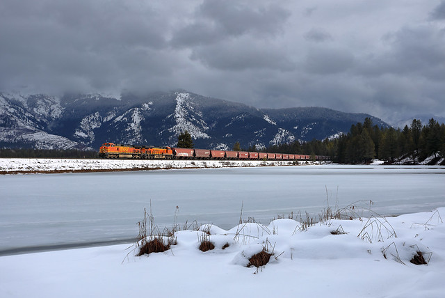Westbound grain at a wintery Trout Creek