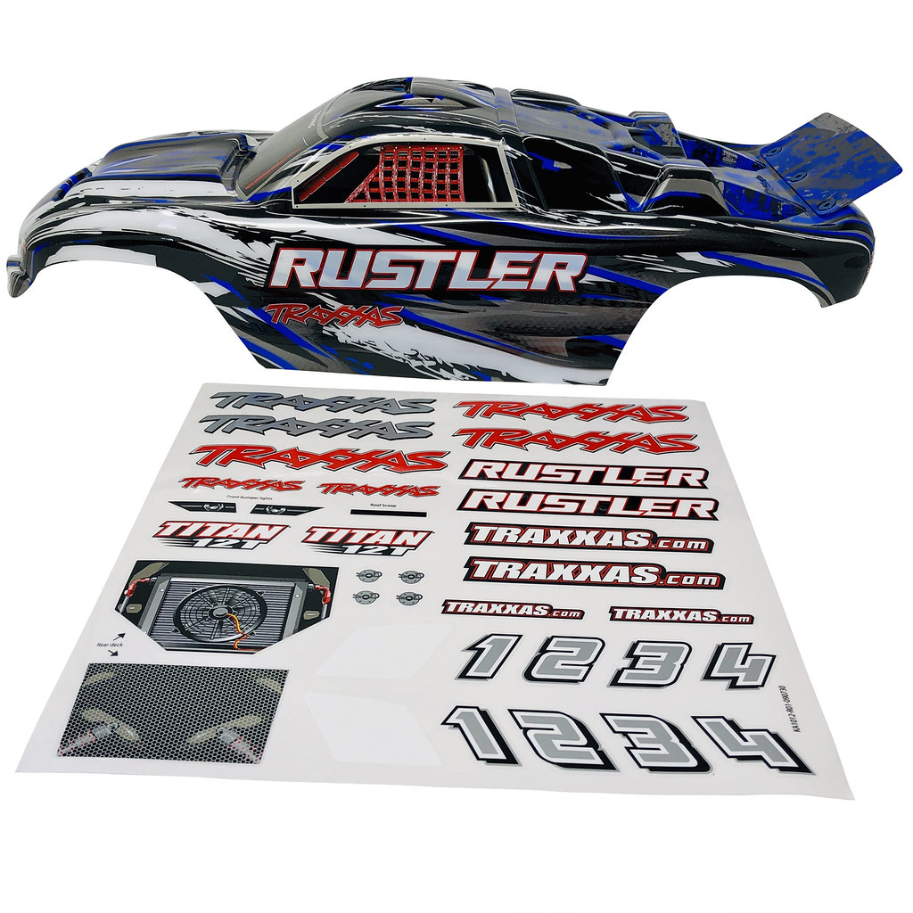 New Traxxas Stampede XL-5 Blue Black White Painted Body Shell /& Decals VXL