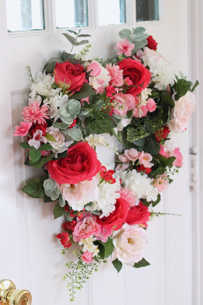 valentine heart flower wreath