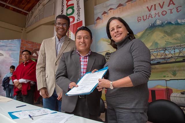 Firma de Convenio de cooperación Interinstitucional entre el GAD Guamote y Ministerio de Educación