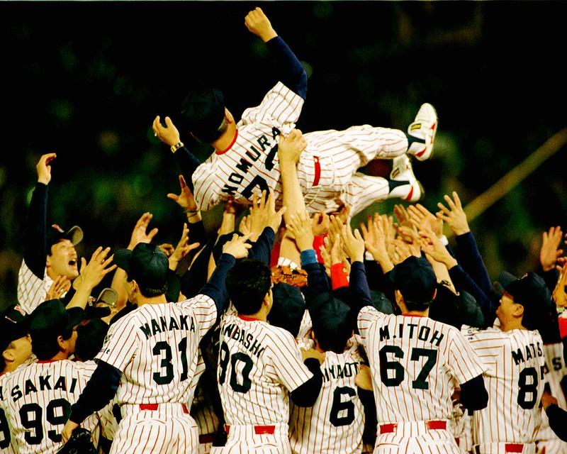 1997年養樂多奪冠後,球員捧起總教練野村克也慶祝。(達志影像資料照)