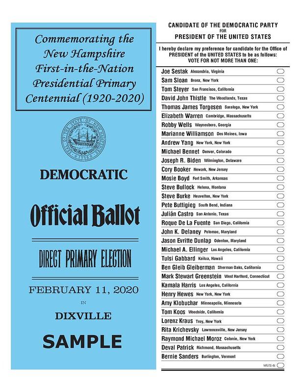NH 2020 Dixville_DEM_Presidential