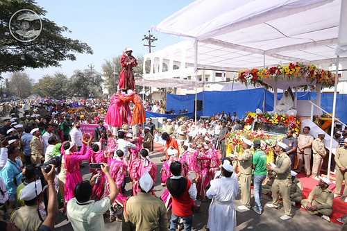 Devotees presented folk dance in Procession