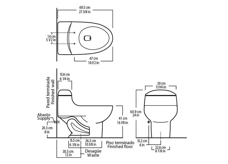 Ilustrasi ukuran kloset duduk siram otomatis