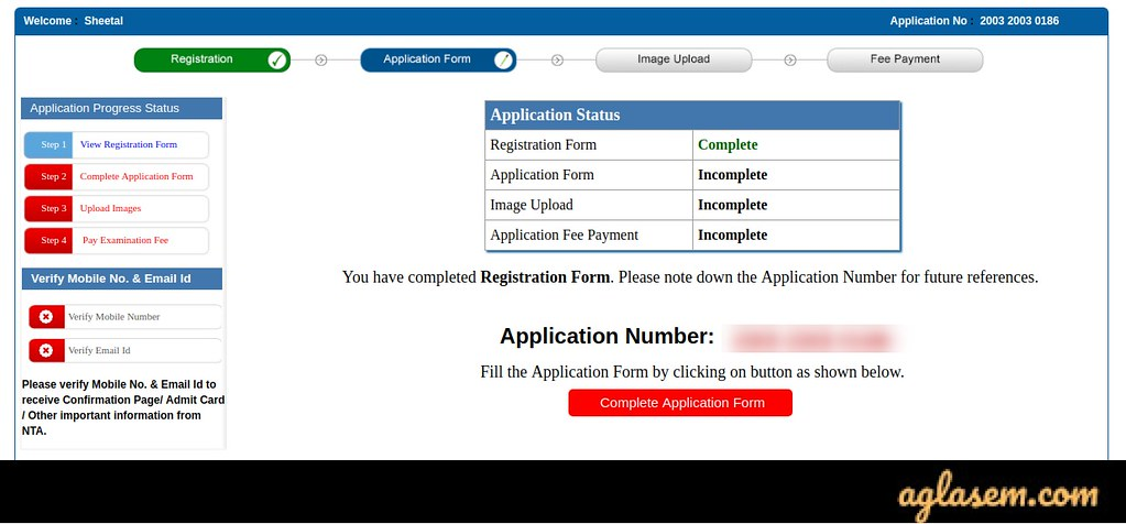 JEE Main 2020 Application number