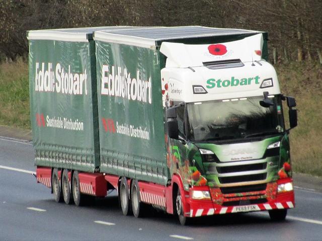Eddie Stobart, Scania R450 (Helena Charlotte M481) Poppy Livery. PE69FSN On The A1M Northbound