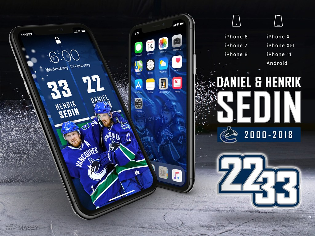 Sedin Brothers (Vancouver Canucks Jersey Retirement) iPhone Wallpaper