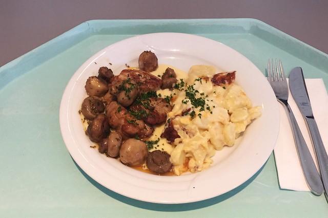 Medallions of pork filet with mushrooms, sauce bernaise & potato gratin / Schweinefiletmedaillons mit Egerlingen, Sauce Bernaise & Kartoffelgratin