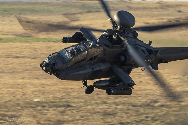 Apache of the British Army Air Corps 653 Sqn turning tight while operating in Northumberland