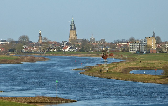 View from the bridge at IJssel river and Zutphen